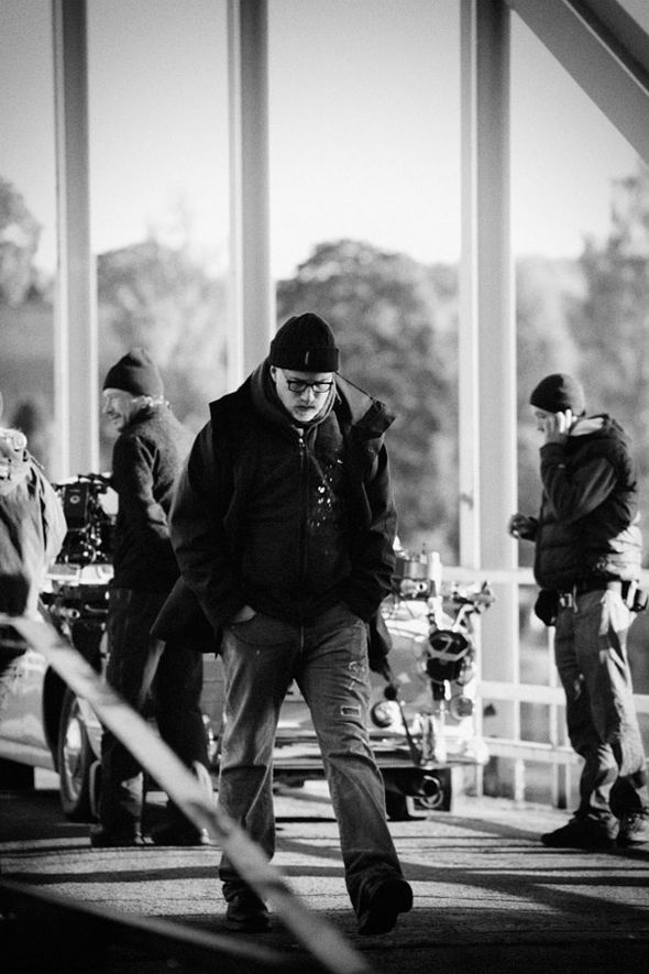 Director David Fincher on location
